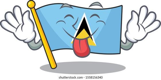 flag saint lucia on the tongue out cartoon