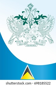 Flag of Saint Lucia, template for the award, an official document with the flag and the symbol of Saint Lucia