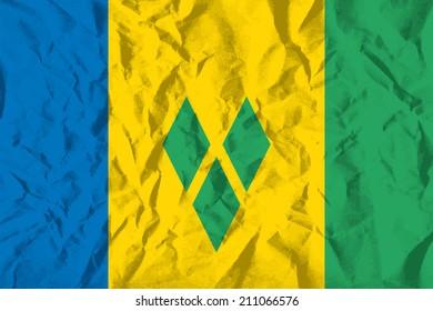 Flag of Saint Vincent and the Grenadines on wrinkled paper vector illustration.