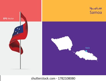 Flag of Samoa on white background. Map of Samoa with Capital position - Apia. The script in arabic means Samoa