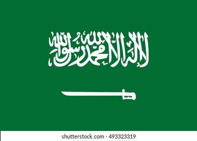Flag of Saudi Arabia correct size, proportion, colors. KSA banner. Arabian design. Vector
