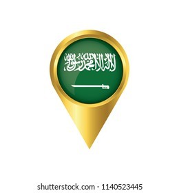 Flag of Saudi Arabia.symbol check in Saudi Arabia, golden map pointer with the national flag of Saudi Arabia in the button. vector illustration.