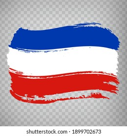 Flag of  Schleswig-Holstein from brush strokes. Germany. High quality map and flag Schleswig-Holstein for your web site design, app  on transparent background.  EPS10.