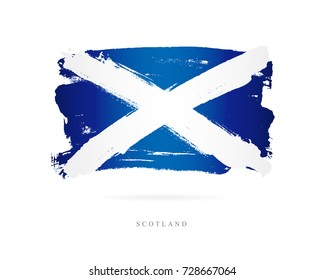 Flag of Scotland. Vector illustration on white background. Beautiful brush strokes. Abstract concept. Elements for design.