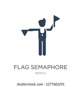 flag semaphore language icon vector on white background, flag semaphore language trendy filled icons from People collection, flag semaphore language vector illustration