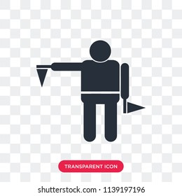 Flag semaphore language vector icon isolated on transparent background, Flag semaphore language logo concept