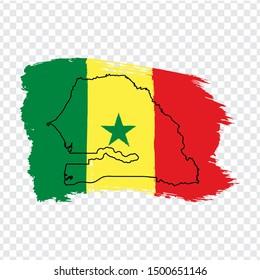 Flag Senegal from brush strokes and Blank map Senegal. High quality map Senegal and flag on transparent background. Africa. Stock vector. Vector illustration EPS10.