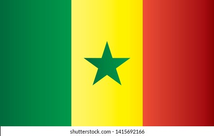Flag of Senegal, Republic of Senegal. Bright, colorful vector illustration.