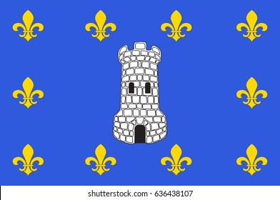 Flag of Sens is a commune in the Yonne department in Bourgogne-Franche-Comte in north-central France. Vector illustration