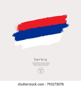 Flag of Serbia in Grunge Brush Stroke : Vector Illustration