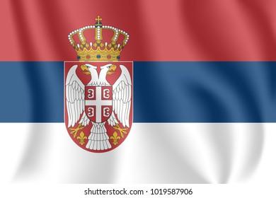 Flag of Serbia. Realistic waving flag of Republic of Serbia. Fabric textured flowing flag of Serbia.