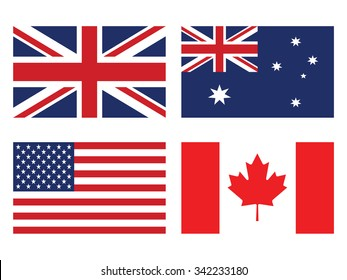 Flag set: United states of America , United Kingdom , Canada and Australia