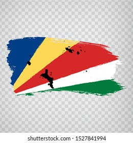 Flag Seychelles from brush strokes and Blank map Seychelles. High quality map  Seychelles and flag on transparent background for your web site design, logo, app, UI. Africa. EPS10.