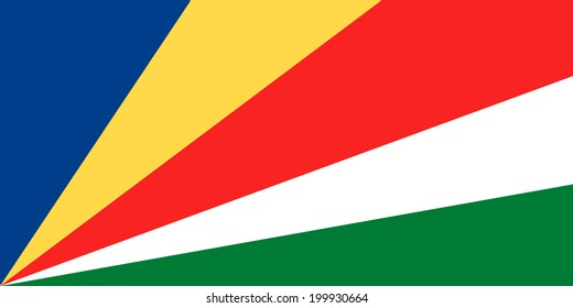 Flag of Seychelles. The colors of the original. Vector illustration.