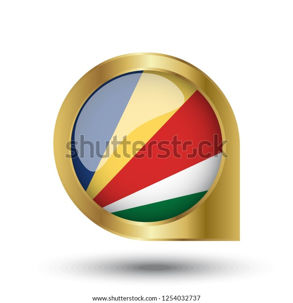 Flag Seychelles Location Map Pin Pointer Stock Vector