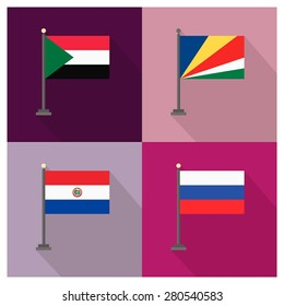 Flag of Seychelles - Flag of Russia - Flag of Sudan - Flag of Paraguay - The flat design of the 4 country flag on the flagpole . Modern World Flag design, Vector illustration template design