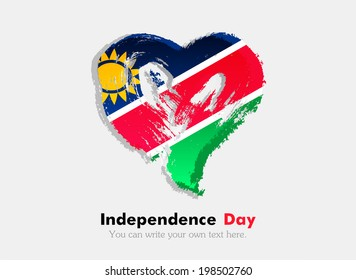 Flag in the shape of heart in grungy style. Independence Day. Heart drawn with a brush. Heart drawn by hand. Grungy heart. Flag of Namibia