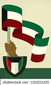 The Flag and Shield of Kuwait. Hand of a Man. Patriotism. Vector Illustration.