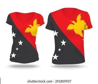 Flag shirt design of Papua New Guinea - vector illustration