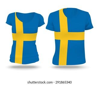 Flag shirt design of Sweden - vector illustration
