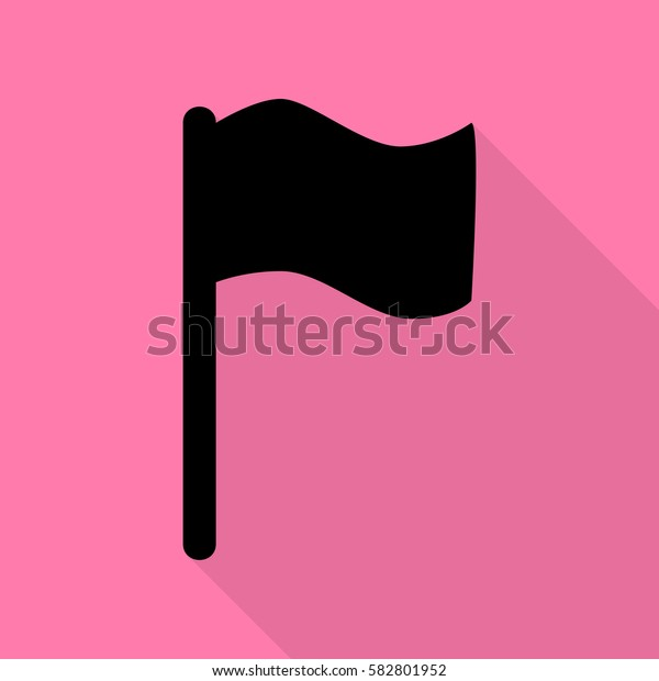 Flag sign illustration. Black icon with flat style shadow path on pink background.