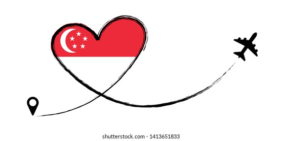 Flag Singapore Asia Asian Love Romantic travel Airplane air plane Aircraft Aeroplane flying fly jet airline line path vector fun funny map pin location pointer route trace sign track vacation holliday