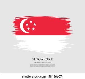 Flag of Singapore, brush stroke background