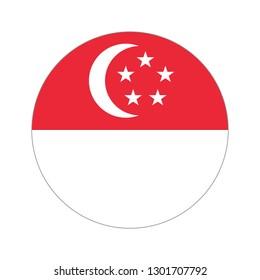 Flag of Singapore. Circular icon on white background, vector illustration.