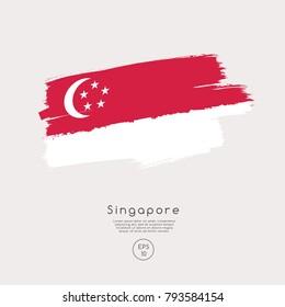 Flag of Singapore in Grunge Brush Stroke : Vector Illustration