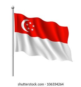 Flag of Singapore, vector illustration