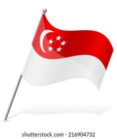flag of Singapore vector illustration isolated on white background