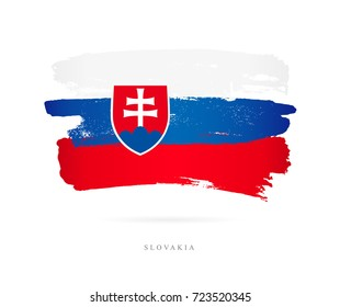 Flag of Slovakia. Vector illustration on white background. Beautiful brush strokes. Abstract concept. Elements for design.
