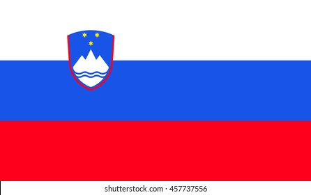 Flag of Slovenia. Vector. Accurate dimensions, elements proportions and colors.