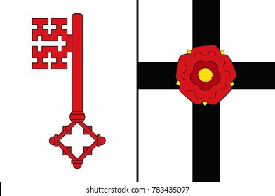 Flag of Soest is a district in the middle of North Rhine-Westphalia, Germany. Vector illustration