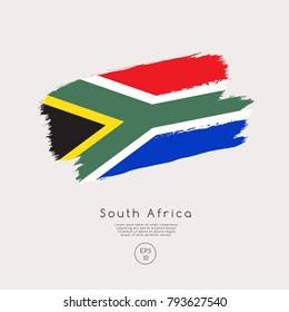 Flag of South Africa in Grunge Brush Stroke : Vector Illustration