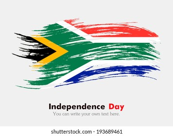 Flag of South Africa. Flag in grungy style. Independence Day.
