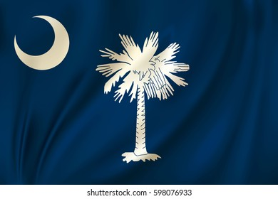 Flag of South Carolina state of the United States. Vector illustration. Waving in the wind on silk background