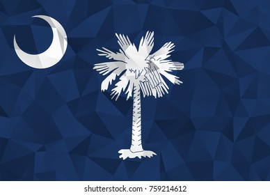 Flag of South Carolina. In the United States. In Polygonal Striped . vector eps10.