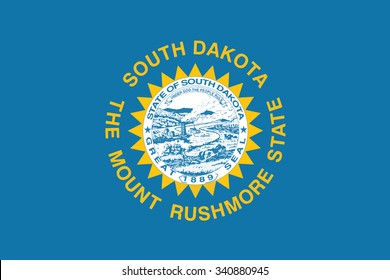 Flag of South Dakota state of the United States. Vector illustration.