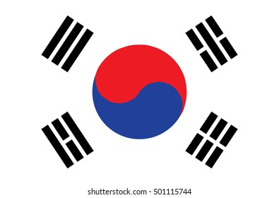 Flag of South Korea. Accurate dimensions, element proportions and colors.