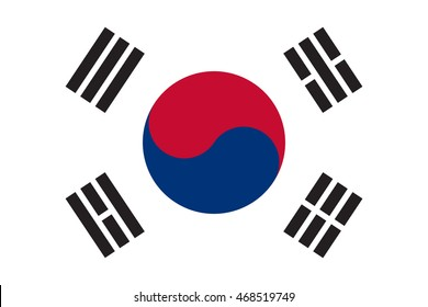 Flag of South Korea in correct size, proportions and colors. Accurate dimensions. South Korean national flag.