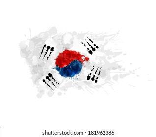 Flag of South Korea ( Republic of Korea ) made of colorful splashes