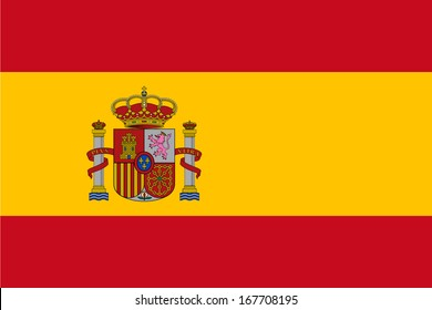 Flag of Spain with Coat of Arms. Vector.  Accurate dimensions, elements proportions and colors.