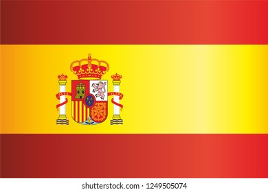 Flag of Spain, Kingdom of Spain. Template for award design, an official document with the flag of Spain. Bright, colorful vector illustration
