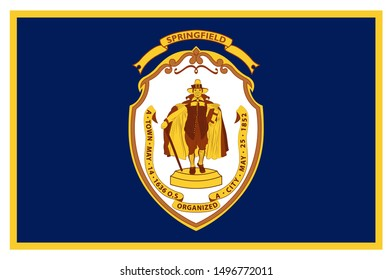 Flag of Springfield is a city in the state of Massachusetts, United States, and the seat of Hampden County. Vector illustration
