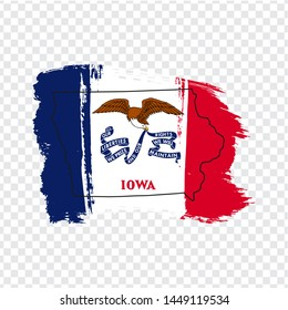Flag of State Iowa from brush strokes and Blank map of  Iowa. United States of America. High quality map Iowa and flag on transparent background. Stock vector. Vector illustration EPS10.