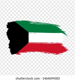Flag State of Kuwait from brush strokes. Flag Kuwait on transparent background for your web site design, logo, app, UI. Stock vector.  EPS10.