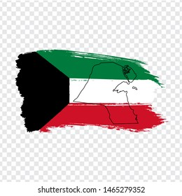 Flag State of Kuwait  from brush strokes and Blank map of  Kuwait.  High quality map Kuwait and flag on transparent background. Stock vector.  EPS10.