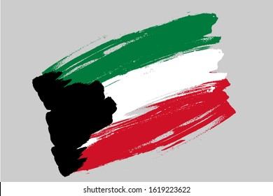 Flag of State of Kuwait. Kuwait tricolor brush concept. Horizontal vector Illustration isolated on gray background.