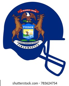 The flag of the state of Michigan below a football helmet silhouette